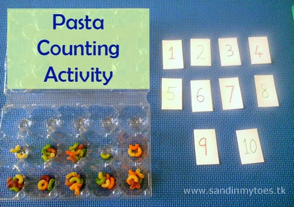 Pasta Counting Activity with number cards