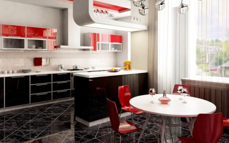 Ruang Dapur Cantik Warna Ungu, Hitam dan Putih