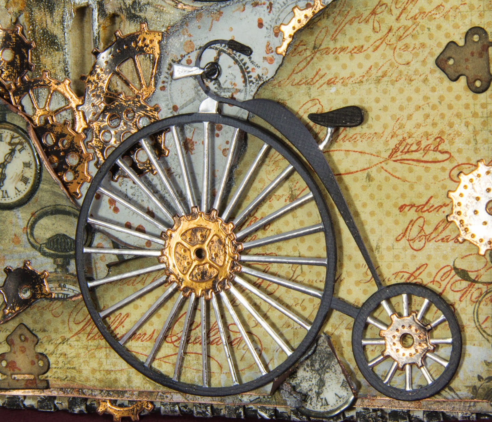 juliz design post industrial revolution my words were computer generated and printed onto kraft paper i then double embossed the edges white embossing powder i finally added a little metal