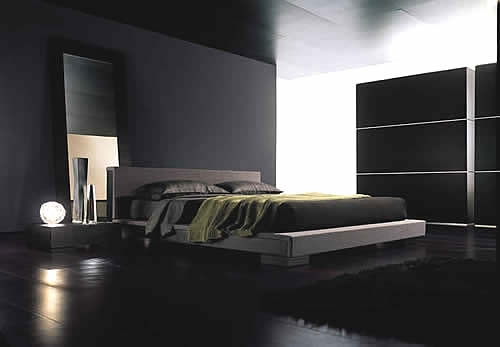 modern black bedroom interior design