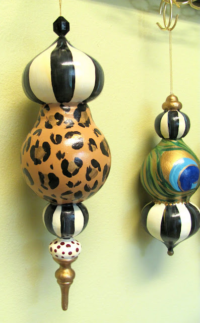 designer finial hand painted Christmas ornament striped, leopard