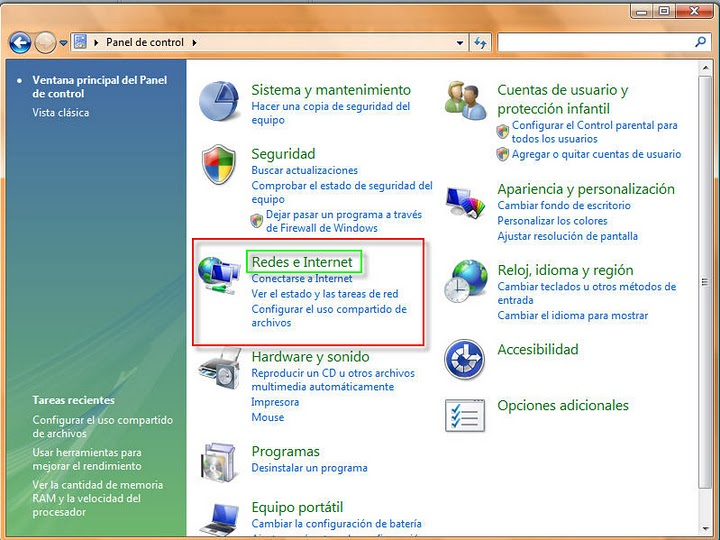 Mantenimiento preventivo: ConfiguraR Redes win Vista & Seven
