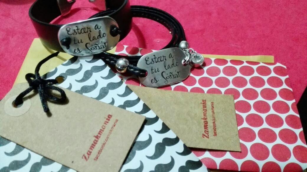 pulseras hombre y mujer cuero con mensaje