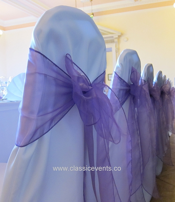 Chair Covers With Sashes In Soft Lavender Tones