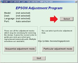 Pilih Jenis Printer Epson dengan menekan pilihan Select