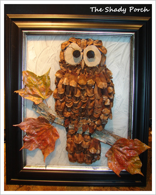 Fabulous Craft pinecone owl wall art