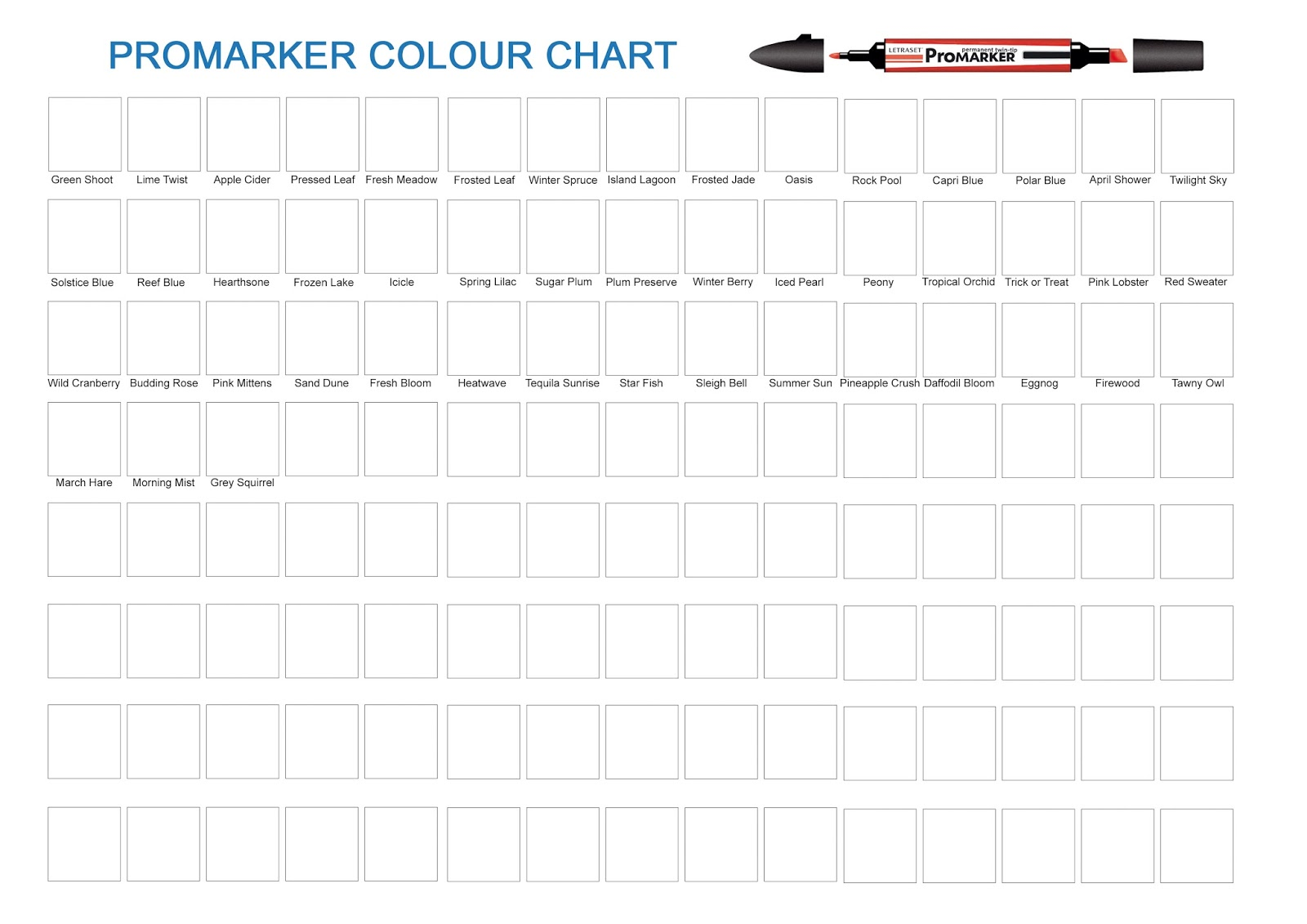 Lorraine S Place Limited Editions Promarker Chart