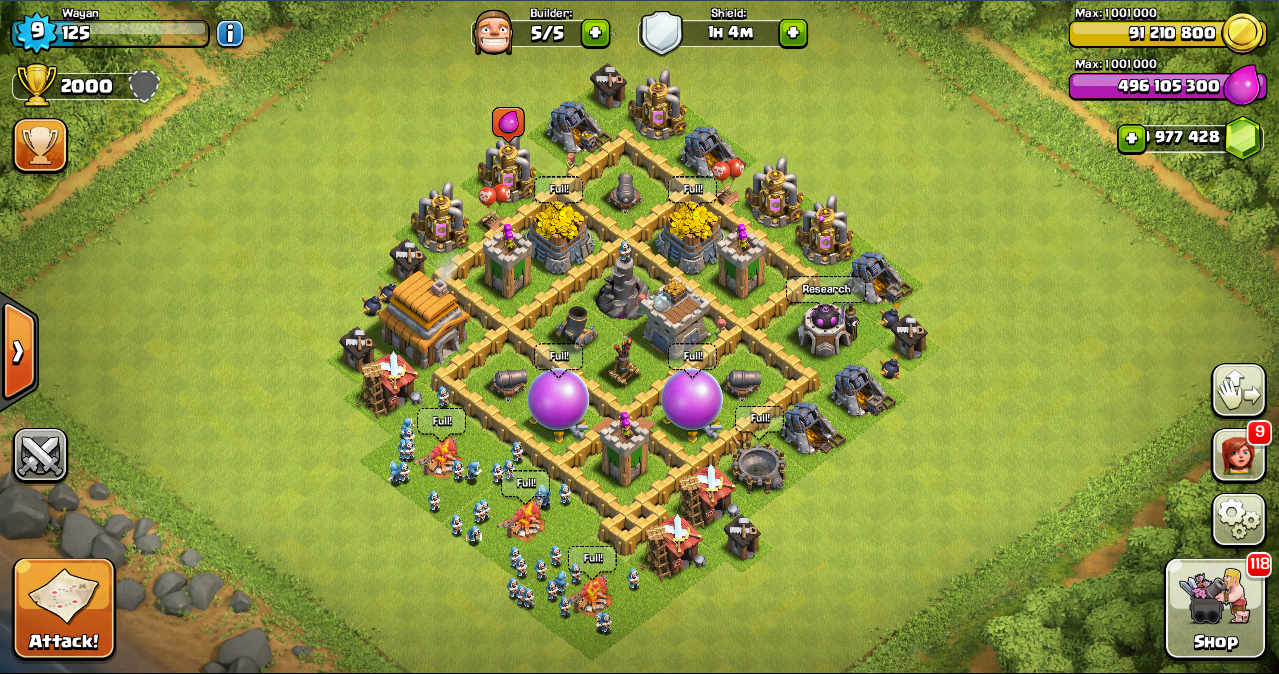 Farming base clash of clans th 5 layout design base clash of clans