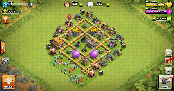 Farming Base Clash Of Clans TH 5 Layout