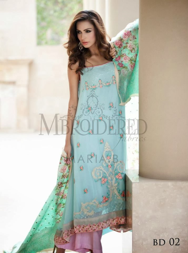 New Maria.B Mbroidered Unstitched pure Chinese silk dresses 2014