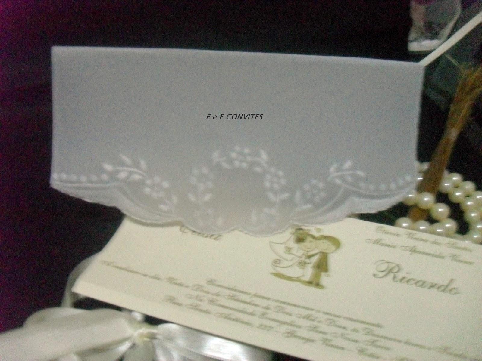 E E E Convites Em Papel Vegetal Convite De Casamento Em Papel Vegetal