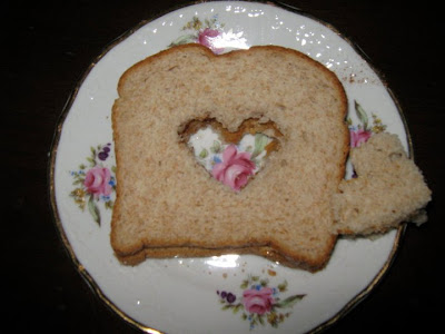 heart sandwich, a heart cut out of the middle of a sandwich