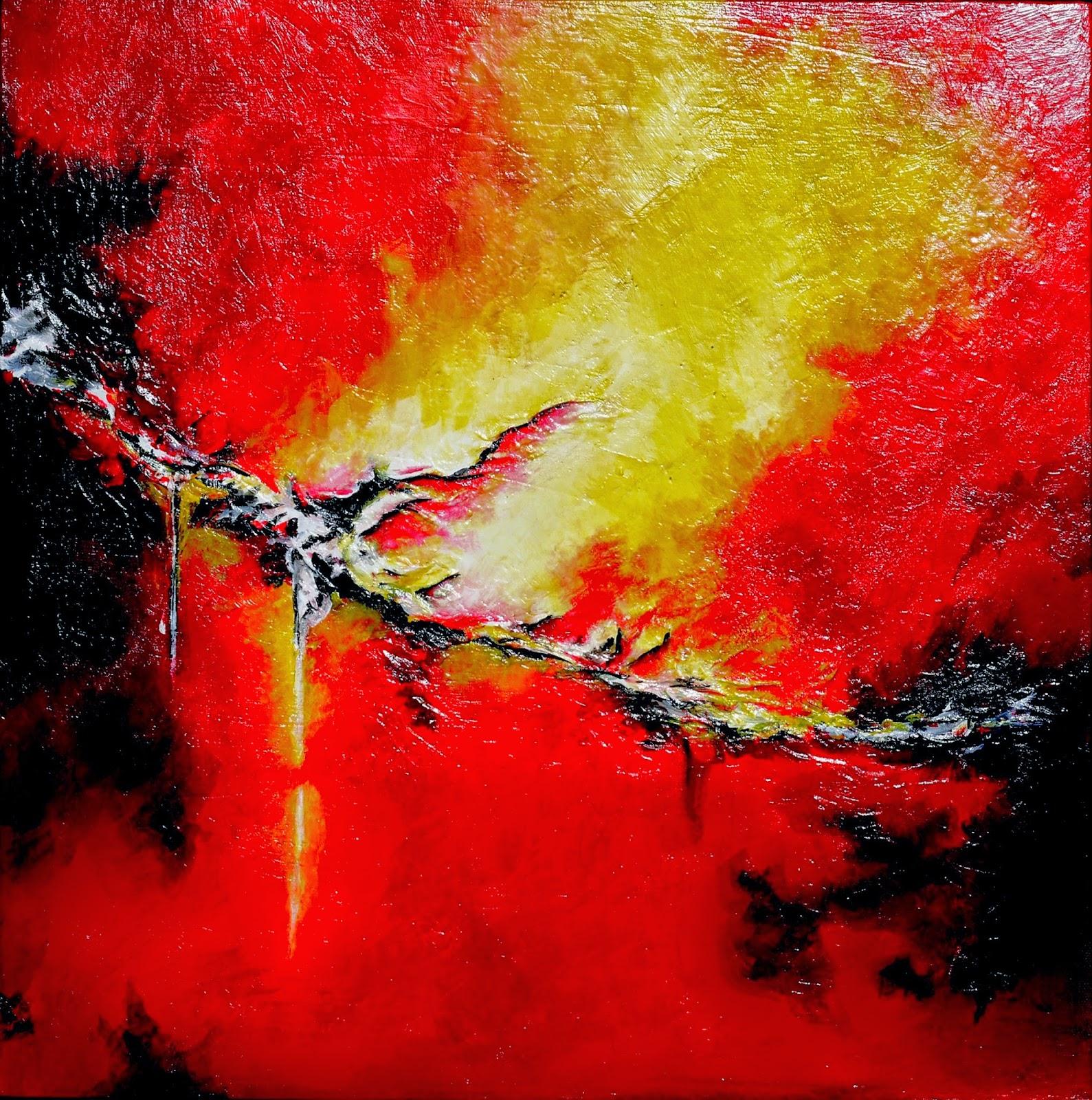 Acrylique, abstrait, couleur, éclair