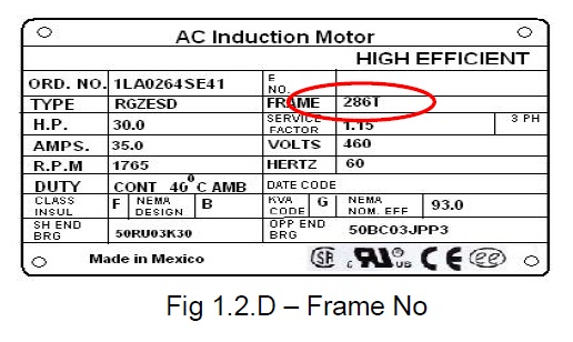 power systems loss: ELECTRIC MOTOR FRAME SIZE STANDARD ...