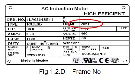 power systems loss electric motor frame size standard specifications
