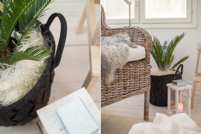 hkliving musta huopakori, salonki ja sisustus akkuna, viherkasvi kangaskoriin