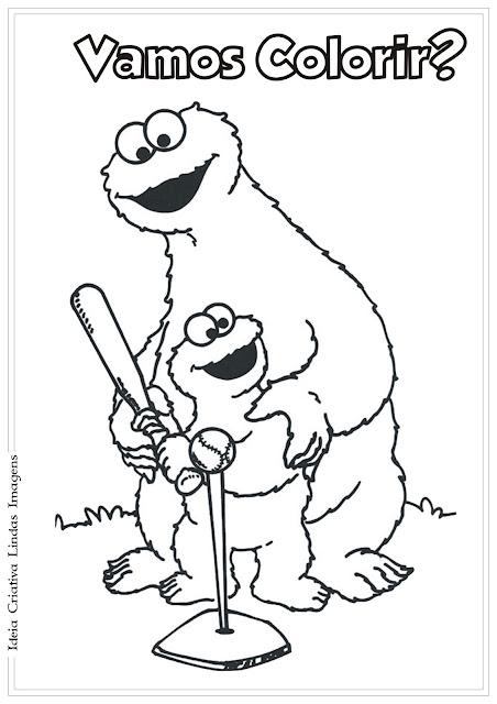 Desenho Come-Come e Elmo Vila Sésamo para colorir