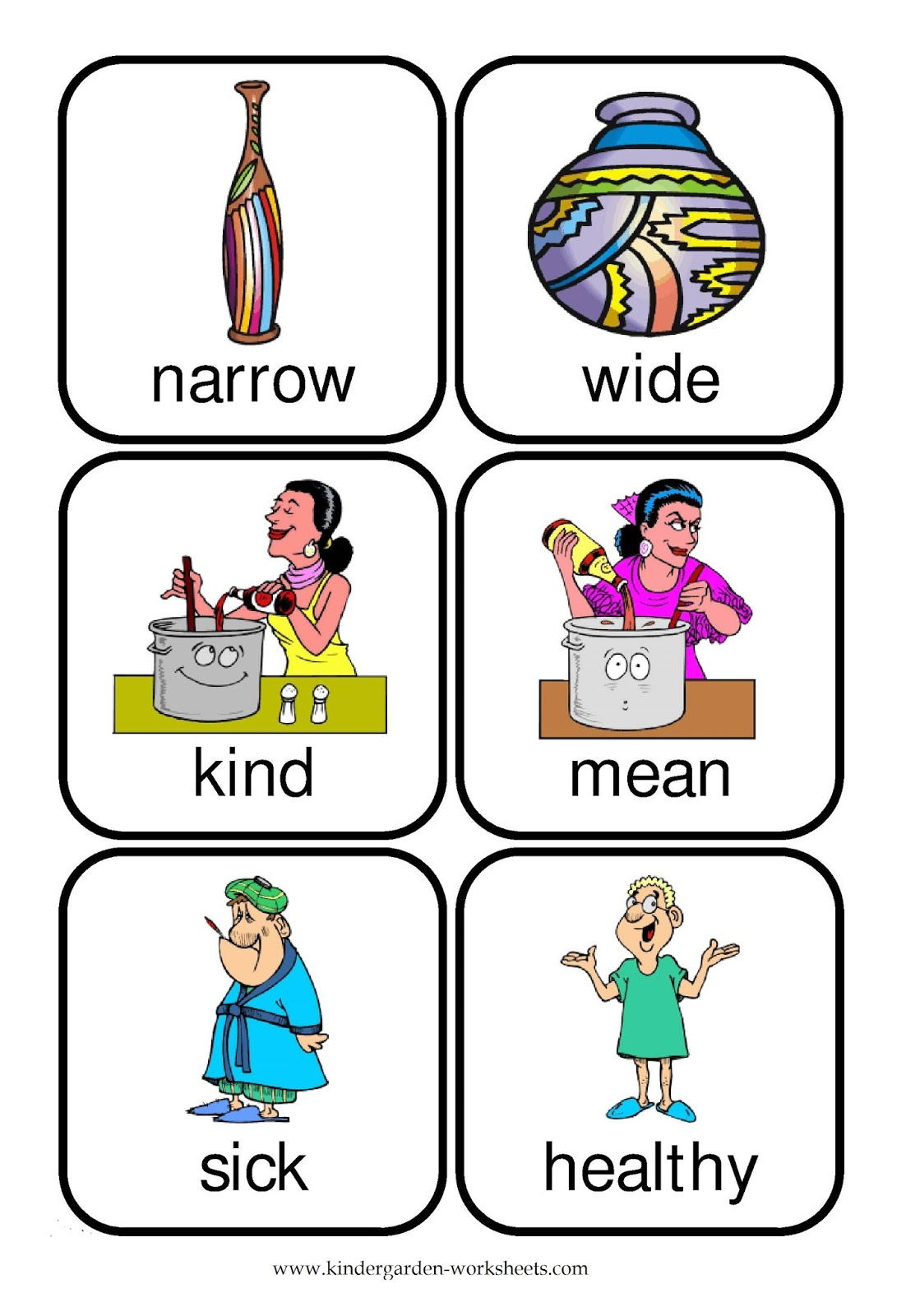 Kindergarten Worksheets Flashcards Opposite Words – Opposites Kindergarten Worksheets