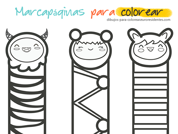 marcapaginas, puntos de libro para colorear