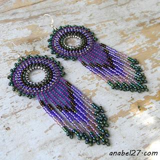 Сиреневые серьги в стиле бохо - украшения от Anabel
