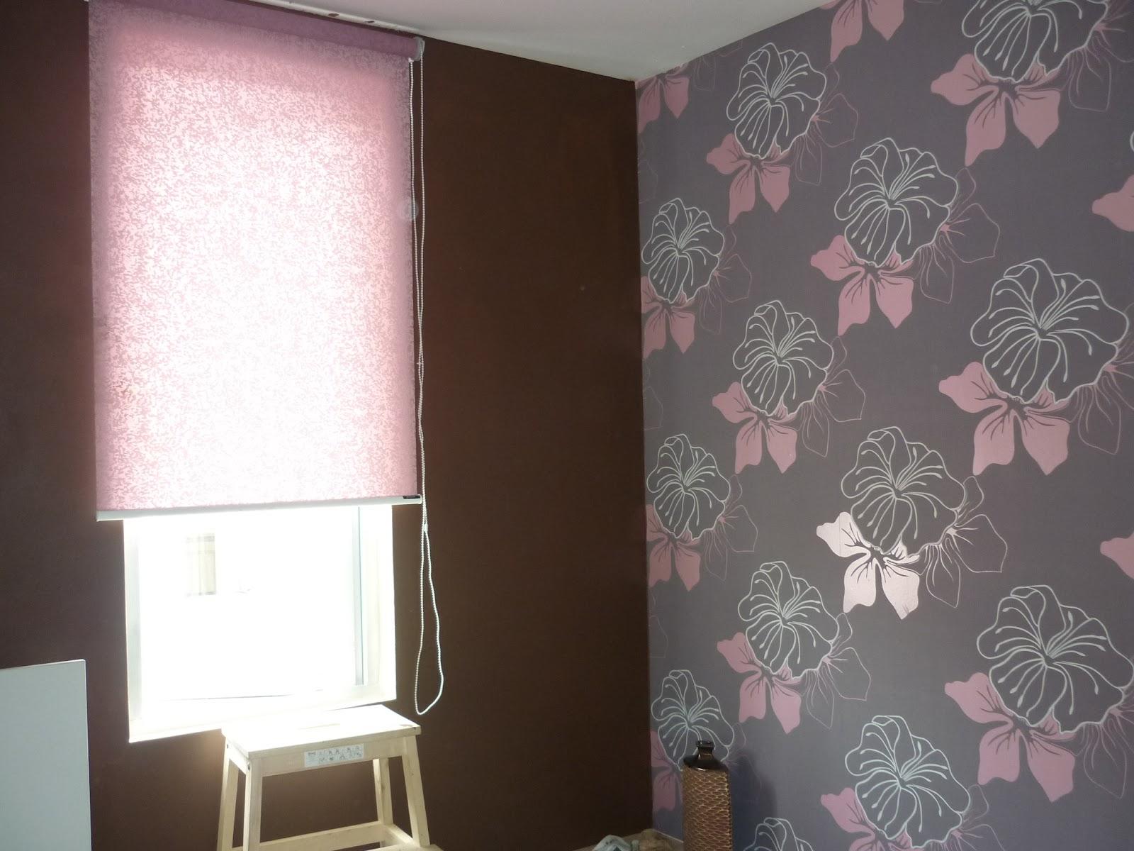 kombinasi floral pink grey dan hitam penuhi ruang bilik
