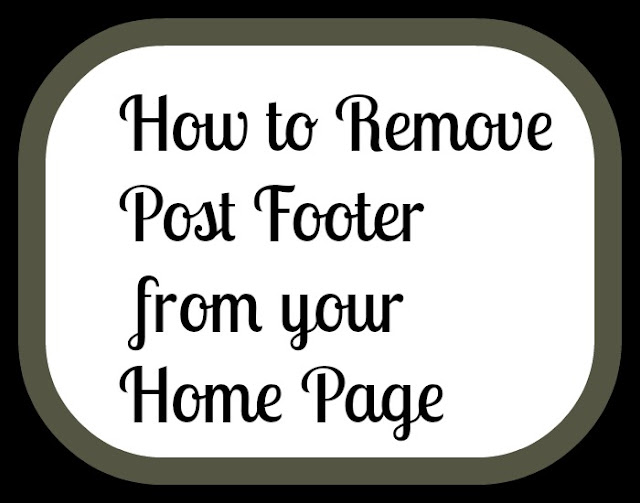 Remove post footer from your home page