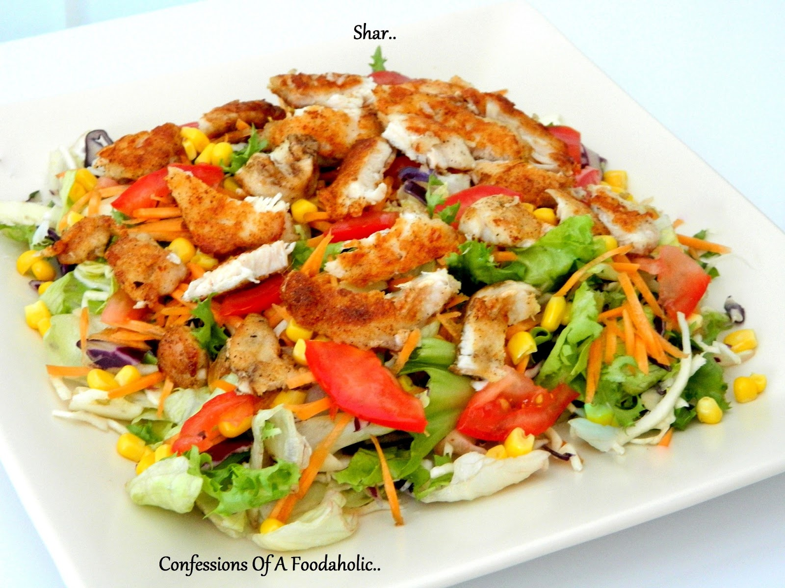 ... Of A Foodaholic: Crispy chicken over bed of crunchy salad
