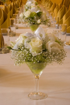 WDW WEDDING DAY WEEKLY BLOGGING FOR BRIDES Martini Glass Centerpieces