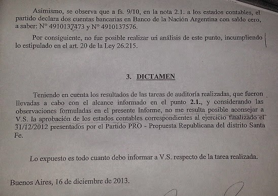 El dictamen del auditor sobre el balance del PRO.