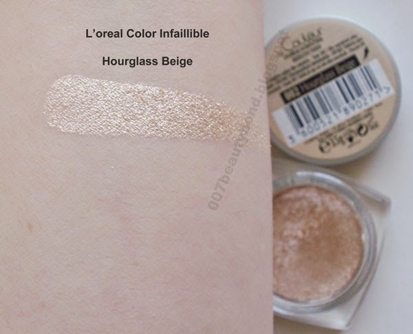 Loreal Color Infaillible 002 Hourglass Beige swatch sombra em creme