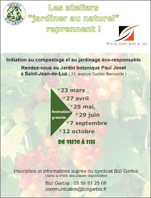 """atelier """"Jardiner au naturel"""" à St Jean De Luz"""