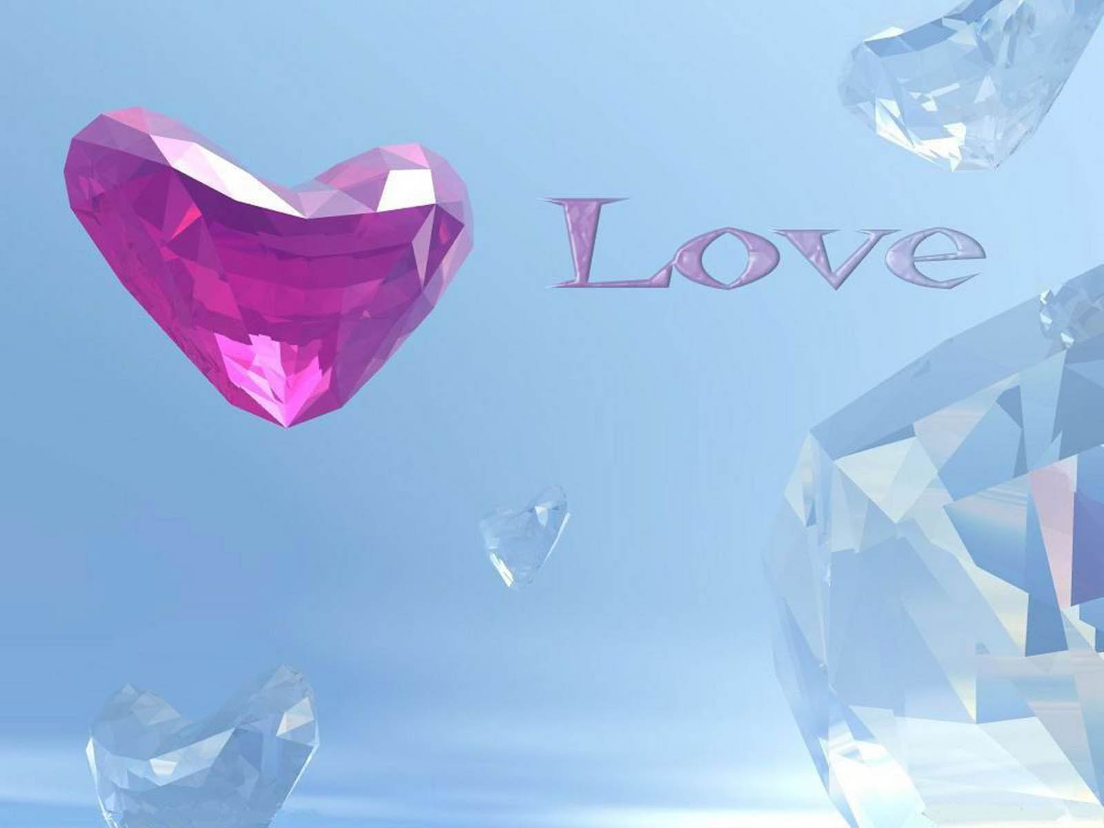 wallpapers: Crystal Red Hearts