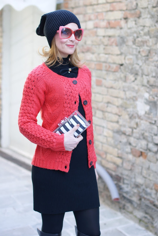 Fashion and Cookies, Asos black beanie, striped clutch, Tiffany bracelet