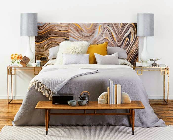 Cool decorating trick marble patterned headboard poppytalk Decorative headboards for beds