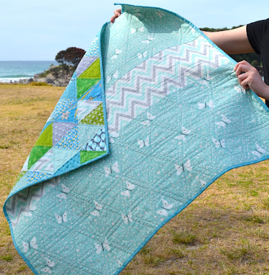 baby quilt aqua butterfly