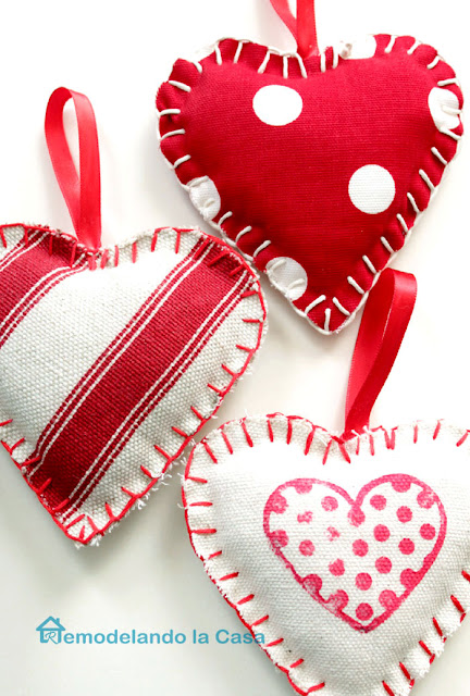 home decor, valentine's decor, red and white polka dot fabric, red and white striped fabric