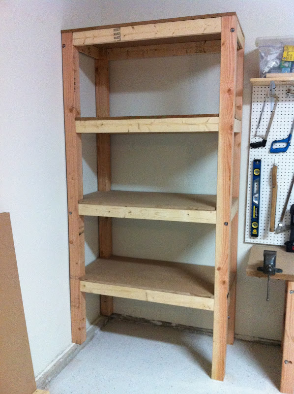 Shelves: 3/4' MDF Board Attached to wall studs with 5/16 x 5 lag bolts title=