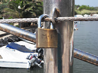 Lock on Ibiza with initials MP