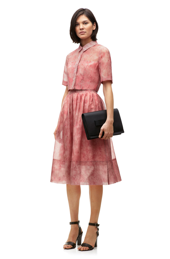 Whistles Vienna Flamingo pink silk midi skirt as part of Spring 2014 collection