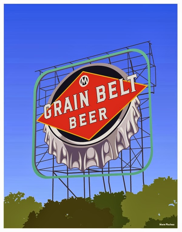 Giant Grain Belt Beer Sign Minneapolis Minnesota - MN Roadside Attraction Travel Poster