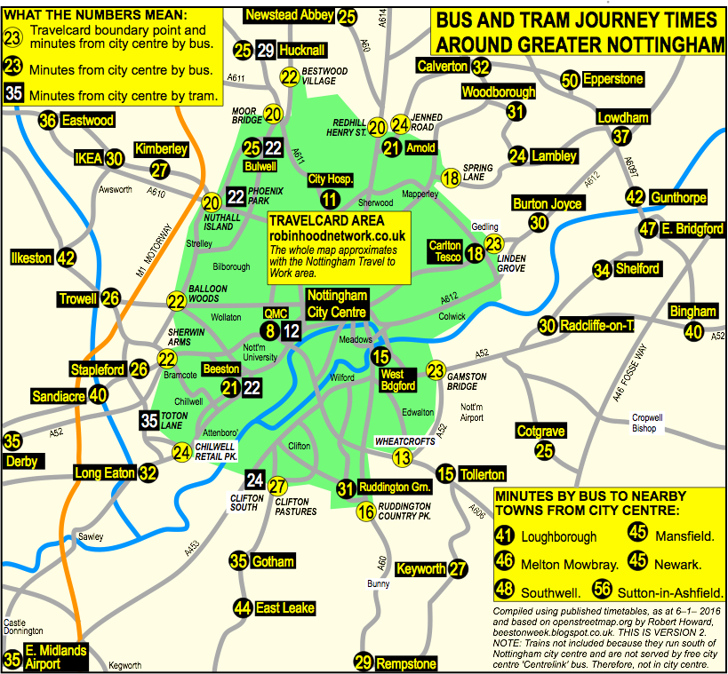 BeestonWeek Nottingham Bus Tram Journey Times Map plus list of