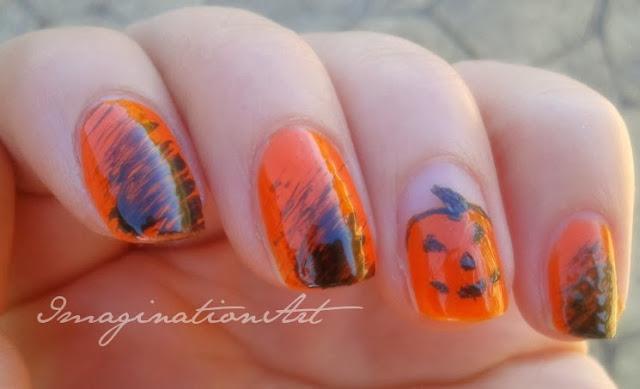 halloween nail art zucca pumpink