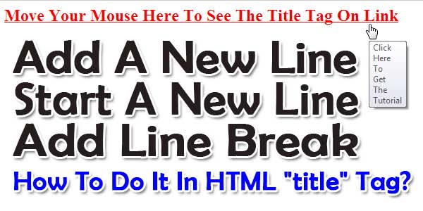 How To Add Start A New Line Or LineBreak In HTML TITLE TAG?