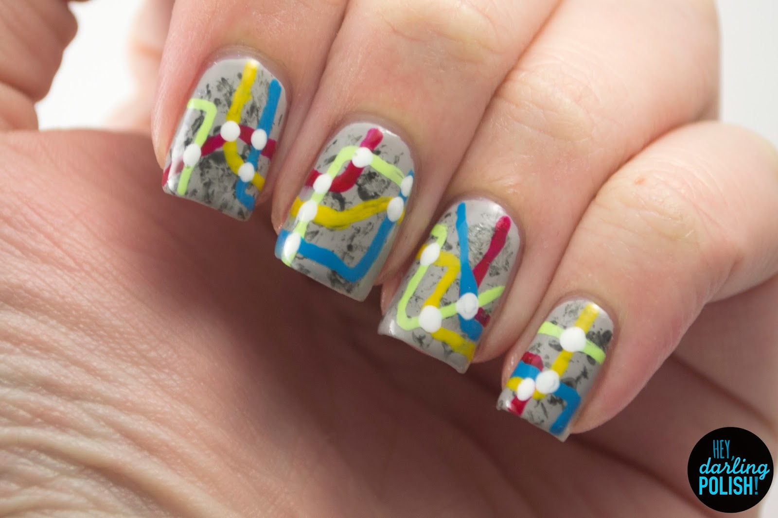 nails, nail art, nail polish, polish, grey, red, blue, yellow, green, hey darling polish, nail art ideas linkup, subway, free hand