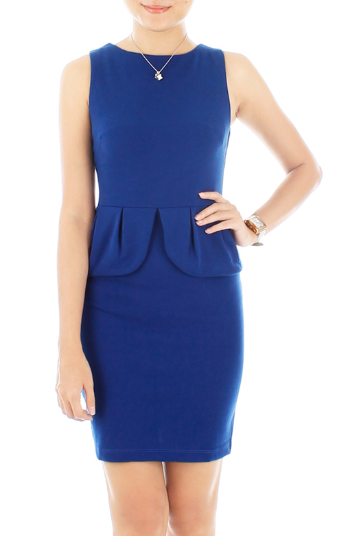 Petal Peplum Dress – Blue