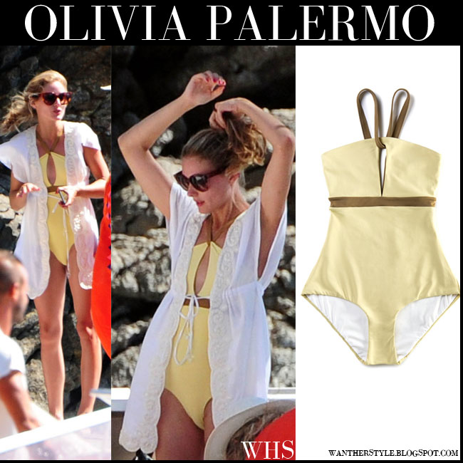 Olivia Palermo in yellow one piece swimsuit with brown details Le Sirenuse yacht vacation july 29 what she wore