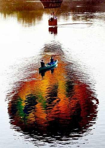 jesień, balon, łóda, para