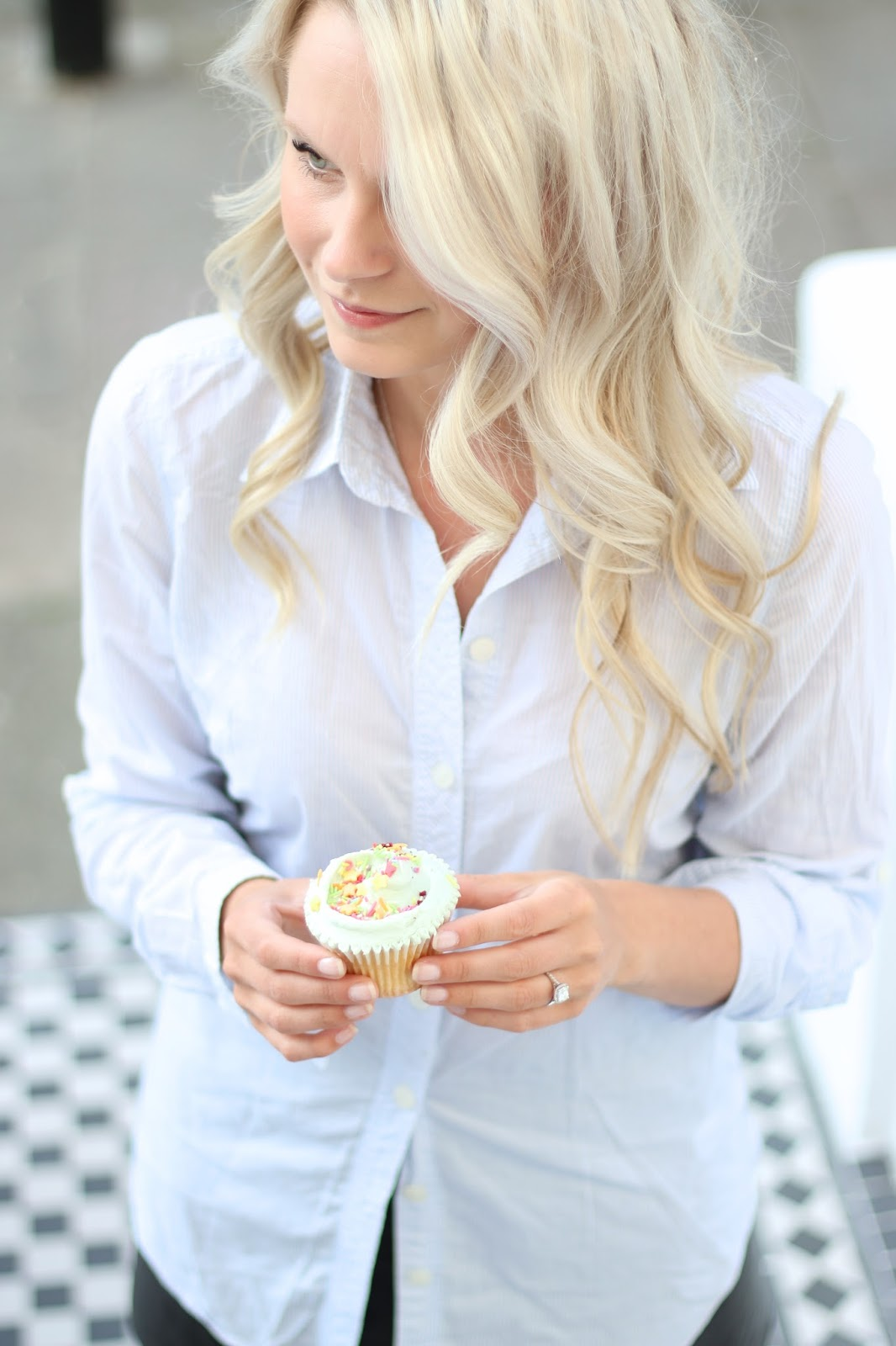 a blue collar shirt and a cupcake taken with a canon 70d camera