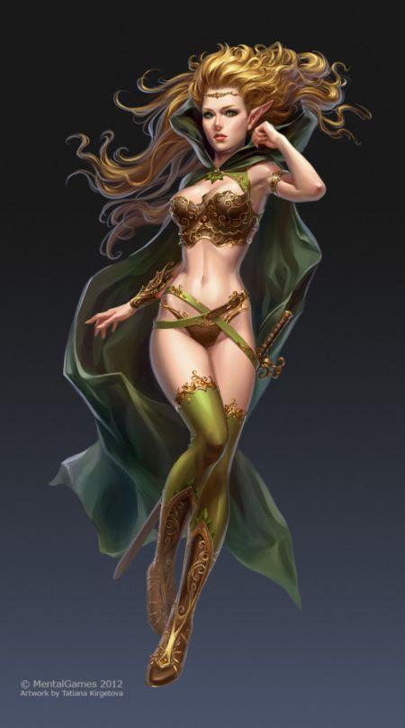 Tatiana Kirgetova  kir-tat deviantart ilustrações fantasia arte conceitual Garota elfa