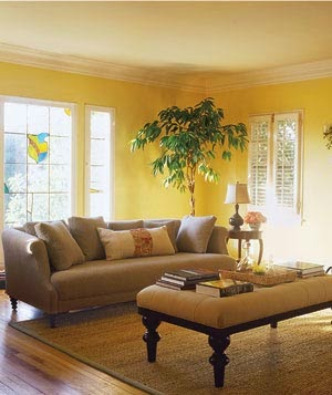 Elite decor 2015 decorating ideas with yellow color Yellow wall living room decor